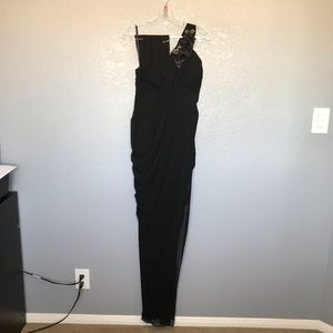 NWT Sally USA One Shoulder Black Evening Gown